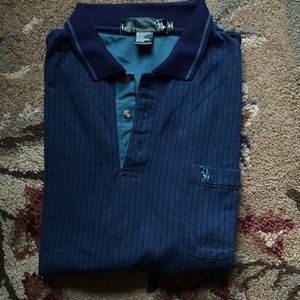 Green and navy polo shirt